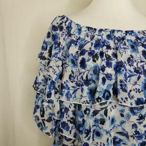 RACHEL Rachel Roy Tops - Rachel Roy Blue Floral Tiered Off-The-Shoulder Top
